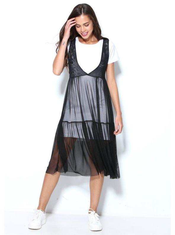 Vestido doble de tul elástico negro sin mangas con interior de punto liso