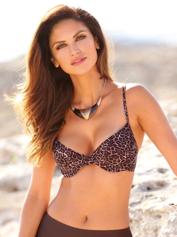 Animal print bikini bra with underwire and cut cups