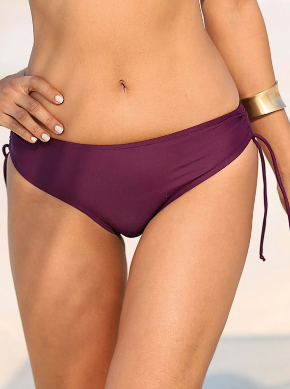 Plain bikini panties with ribbons on the sides