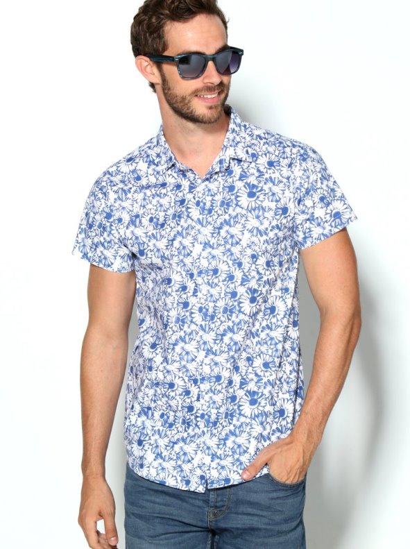 Camisa de hombre estampado flores bicolor de manga corta