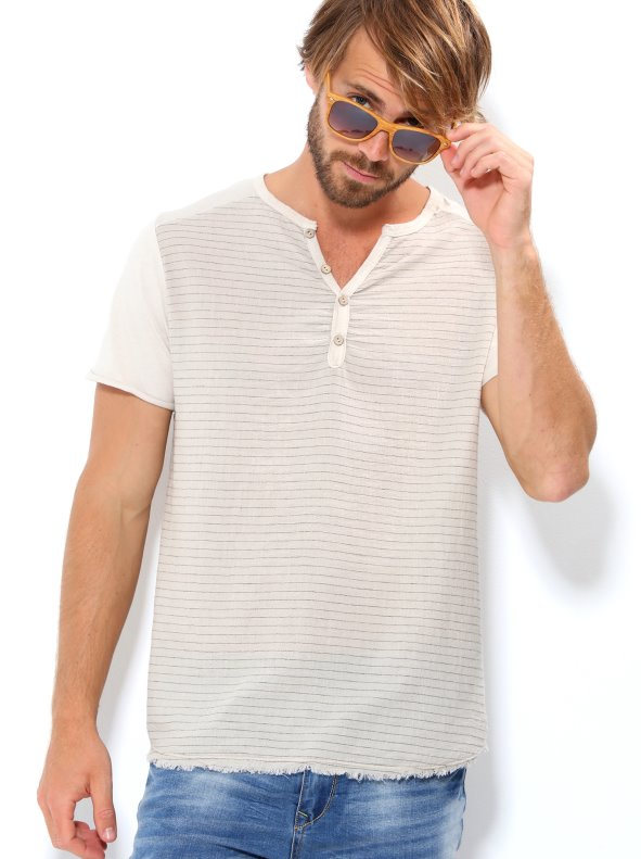 T-Shirt Man Short sleeve with front-row tissue effect bambula
