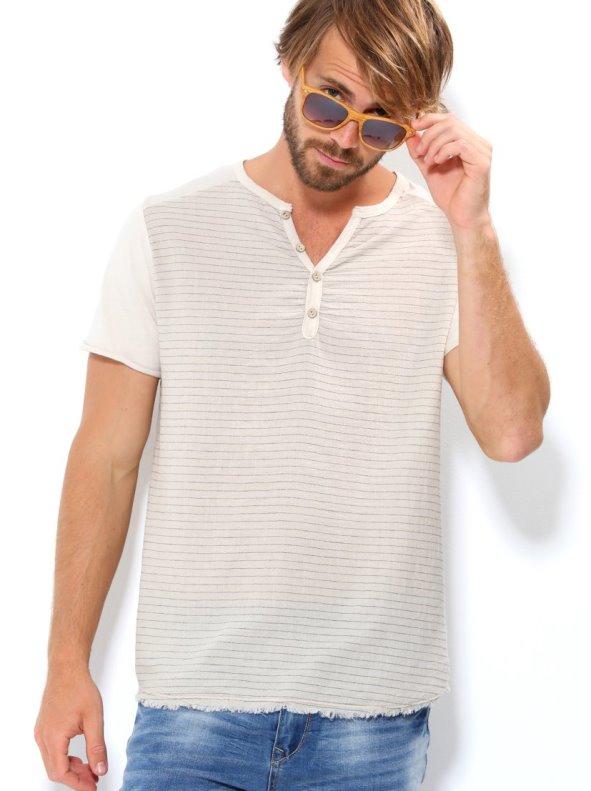 Camiseta hombre manga corta con rayas tejido bambula VENCA