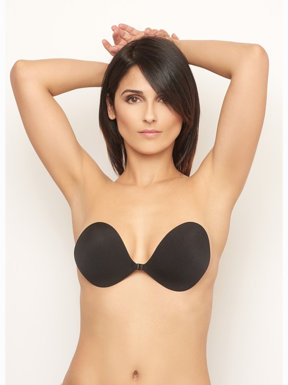 Women's strapless and backless bra with push up adhesive