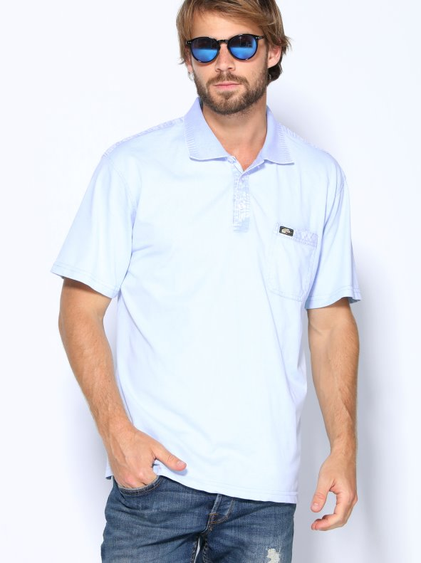Polo man short sleeve point smooth elastic details effect worn