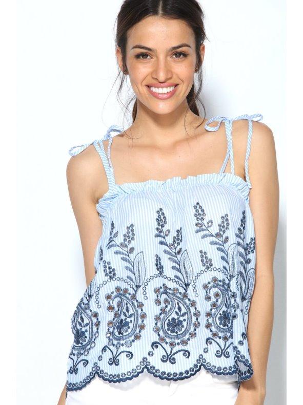 Blusa top rayas azules tirantes de lazada y escote elástico con bordado