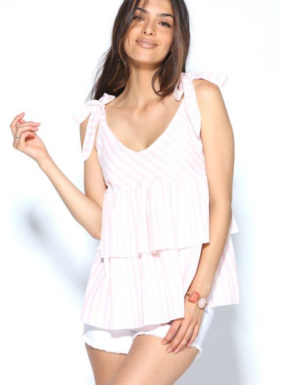 Blusa tejido rayas con volantes escote en V y tirantes TREND CAPSULE BY VENCA