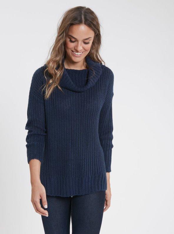 Jersey oversize cuello alto doble y canalé azul XXL