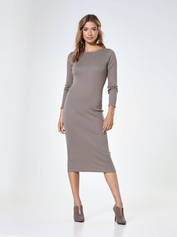 Robe Mi Longue En Tricot Col Bateau Manches Longues Femme Venca Venca 015570