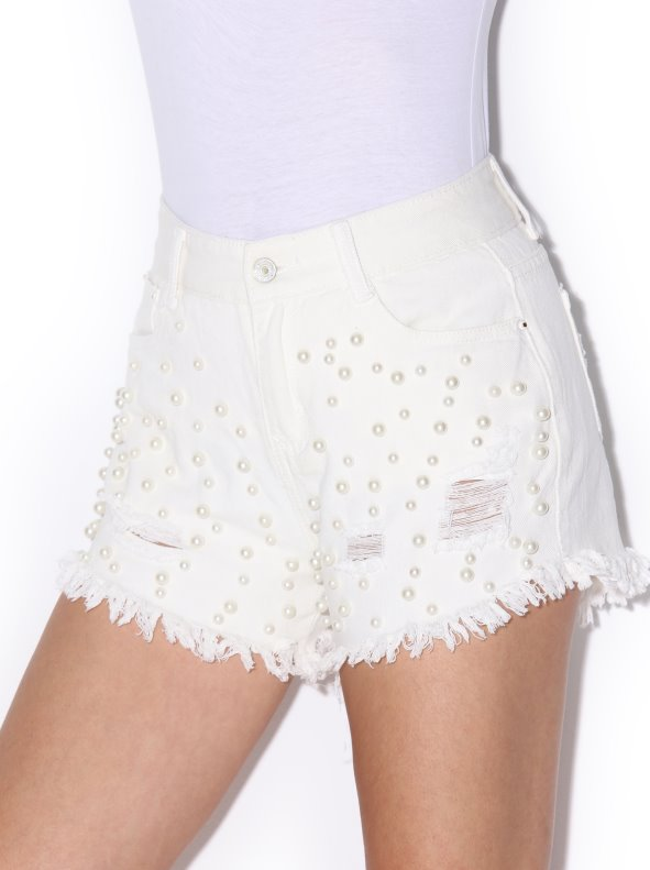 Drawbar twill short shorts with pearls finished fantasy and broken