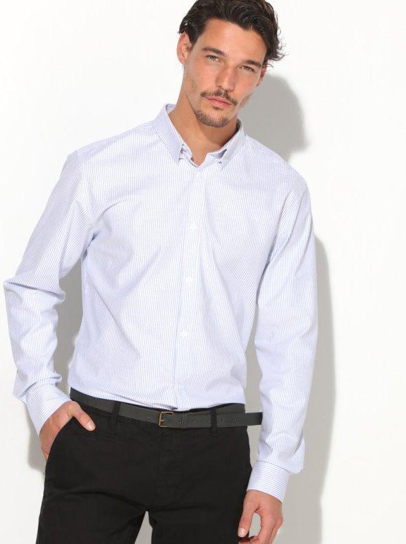 Camisa hombre tejido elástico fácil planchado presilla bajo cuello SELECTED