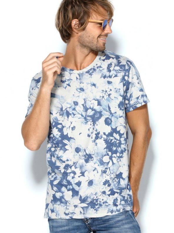 Camiseta hombre punto liso en manga corta con estampado flores