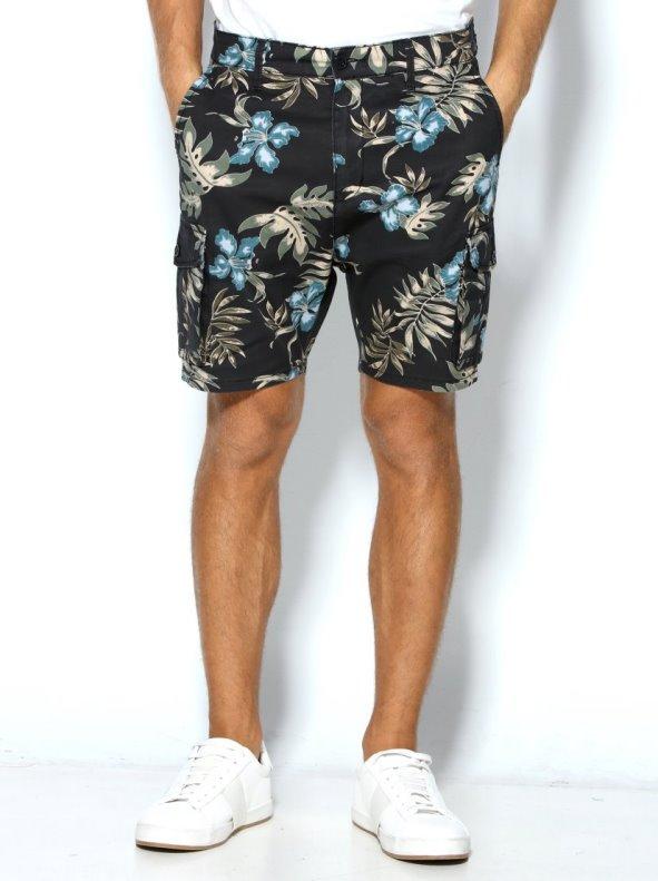 Pantalón corto bermuda de hombre estampado flores hibiscus con bolsillos