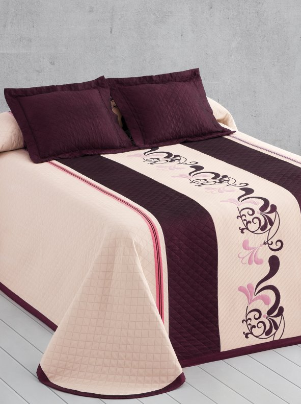 JILL reversible quilt with printed border in quilted fabric