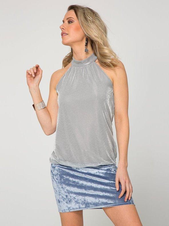 Vestido escote halter punto hilos metalizados y fajín TREND CAPSULE BY VENCA plateado S
