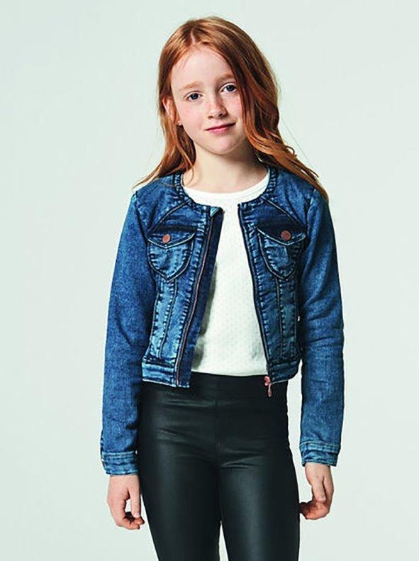 Denim biker jacket for girls with zipper NAME IT