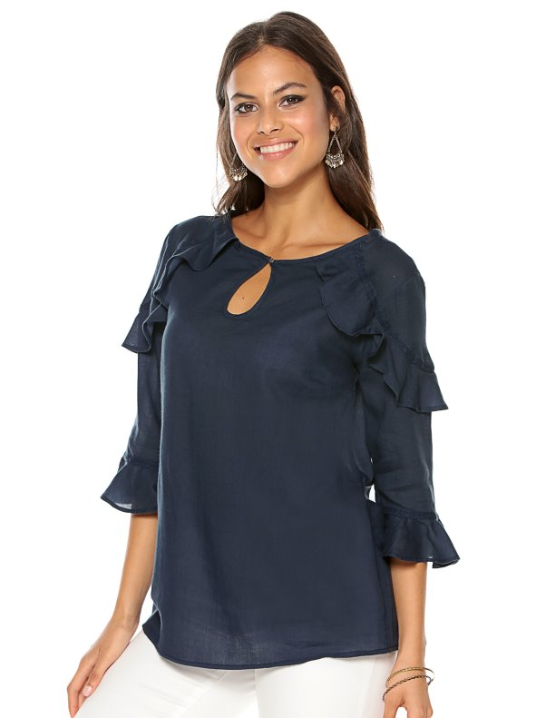 Women's 3/4 sleeve blouse with flounces and lace details