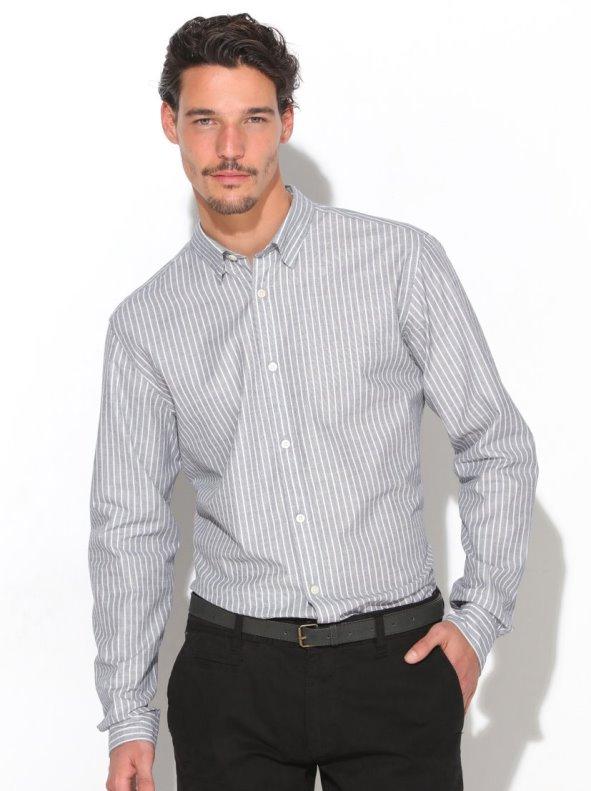 Camisa hombre con presilla y botón bajo SELECTED