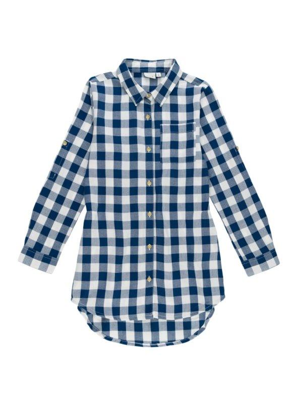 Camisa larga vestido para niña cuadros con manga larga regulable NAME IT