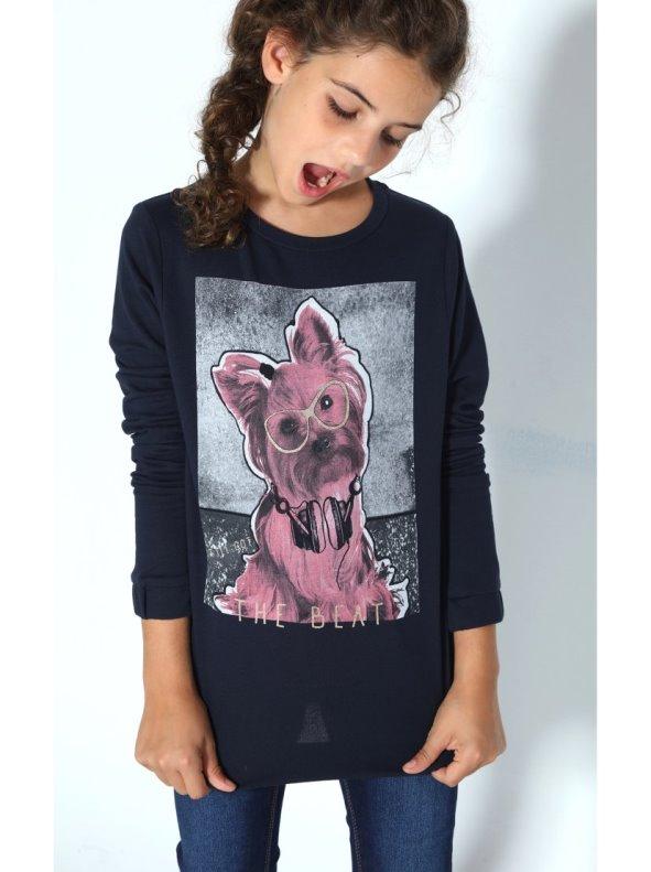 Sudadera de niña estampado perrito con glitter y lentejuelas NAME IT