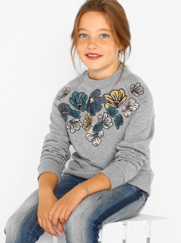 Sudadera de niña con flores bordadas y manga larga raglán NAME IT