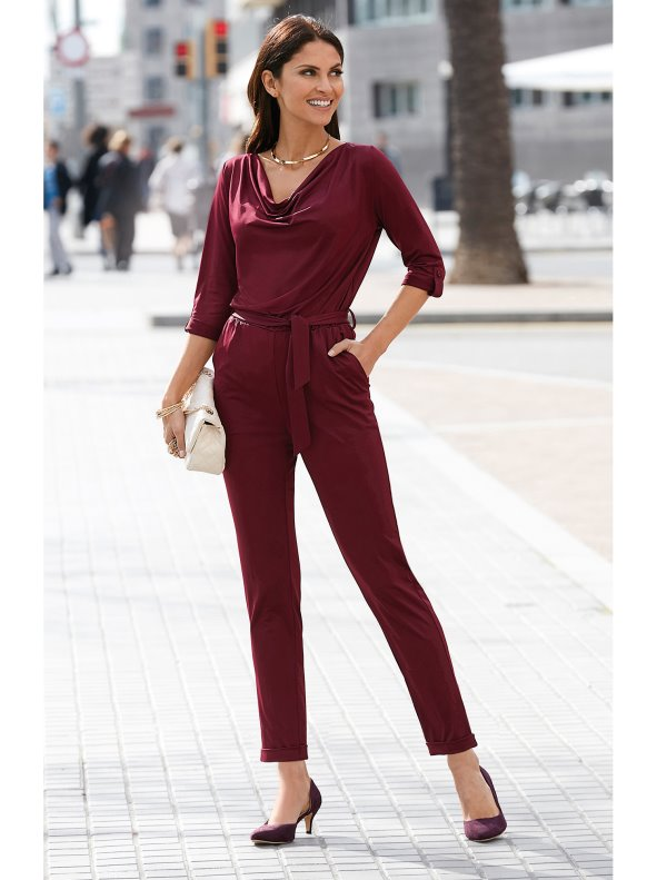 Belted jumpsuit with a cowl neck at the front and V-neck back