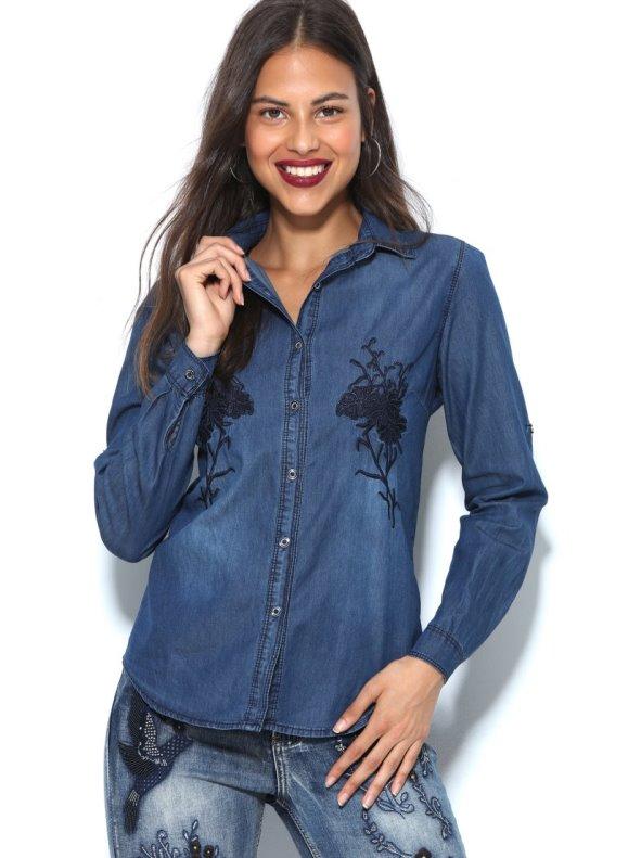 72a1ddbe5 Camisa vaquera mujer con bordados flores - Venca - 017660