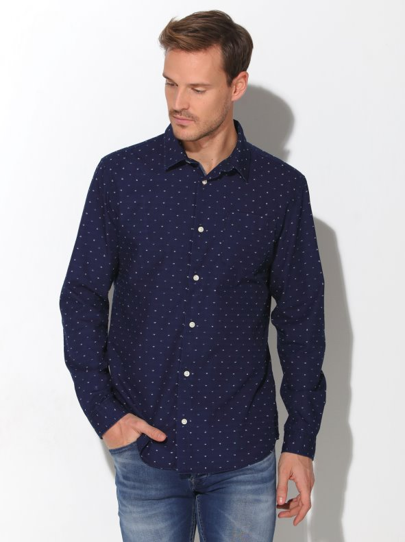 Camisa de manga larga para hombre con tejido plumeti bicolor JACK & JONES