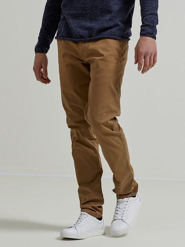 Pantalón largo tipo chino para hombre marrón 32