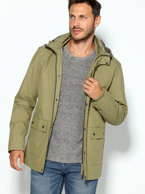 Parka de hombre con capucha desmontable tejido resinado SELECTED