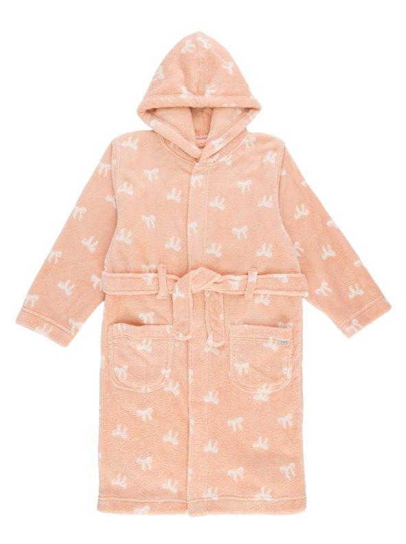 Bata de niña con capucha en suave polar con jacquard lazos NAME IT