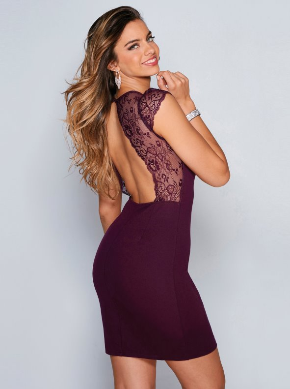 Women's sexy party dress with matching lace parts