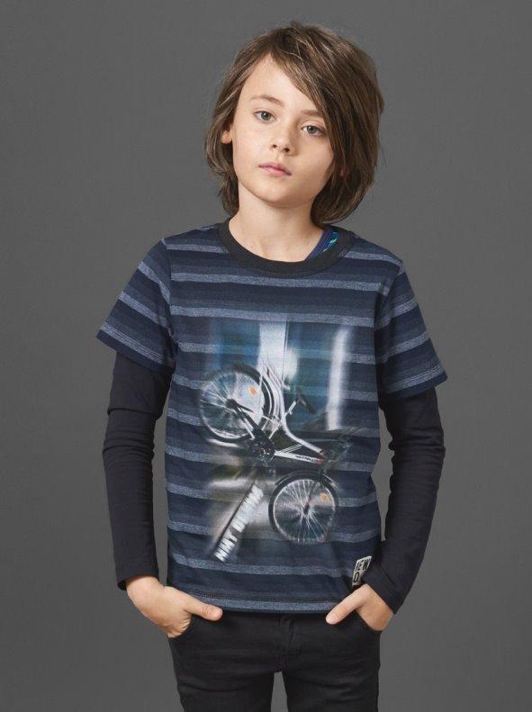 Camiseta niño efecto doble manga larga rayas tejidas Bike NAME IT