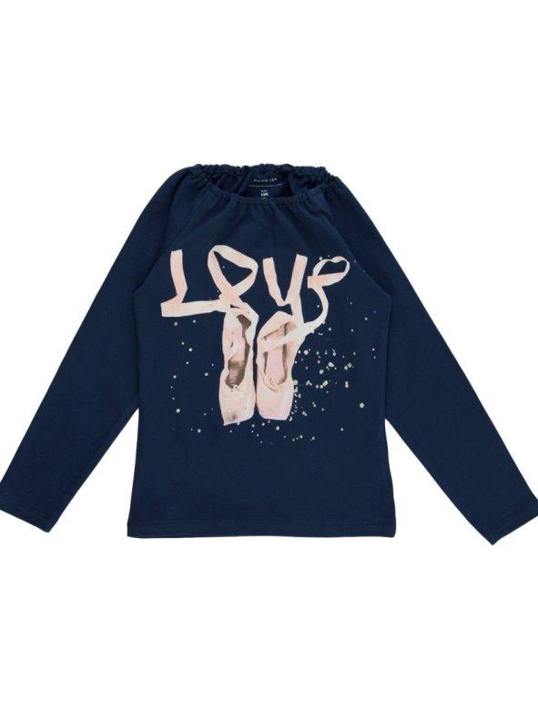 Camiseta niña manga larga escote elástico print bailarina NAME IT