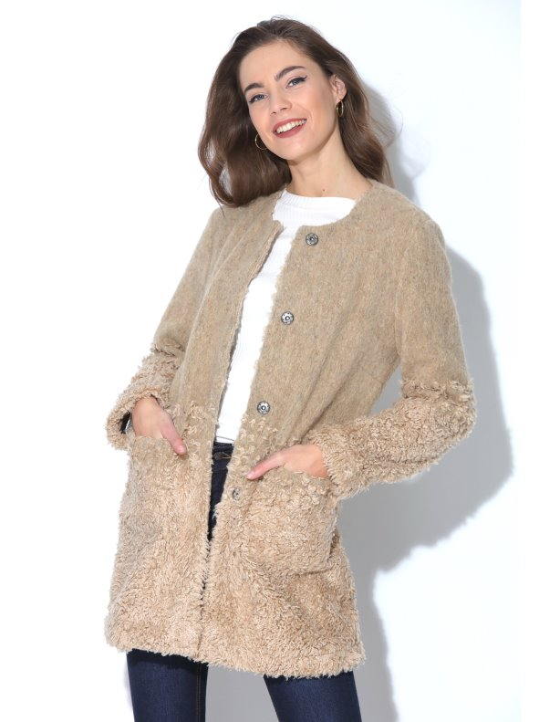 Coat of cloth detail hairdryer borreguito gradient with pockets TREND CAPSULE BY VENCA