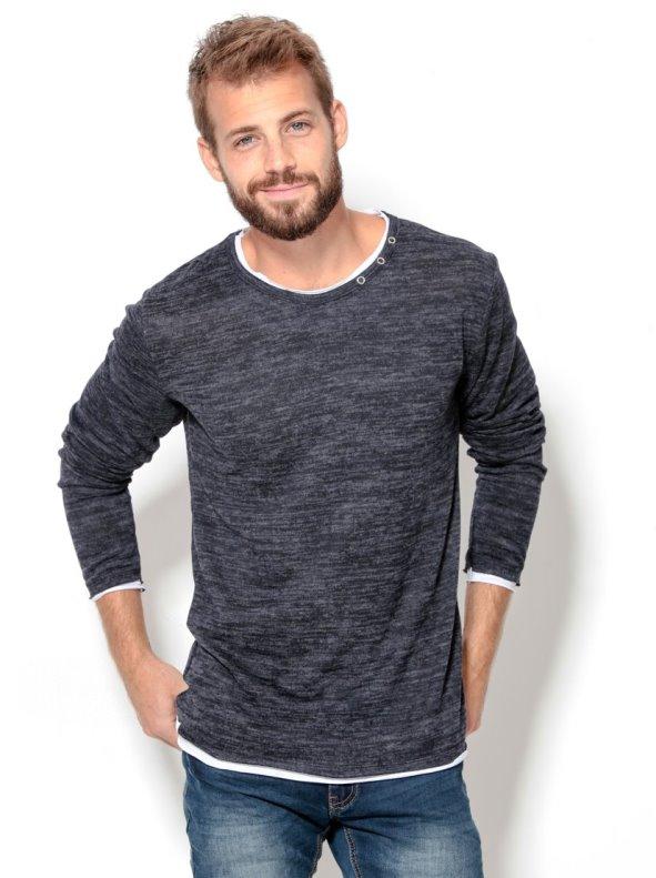 Jersey para hombre de manga larga efecto doble en fino tricot