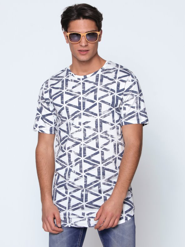 T-shirt man, tee shirt summer 2018, new arrival, Short sleeved T-shirt with geometric triangular pattern ONLY & SONS