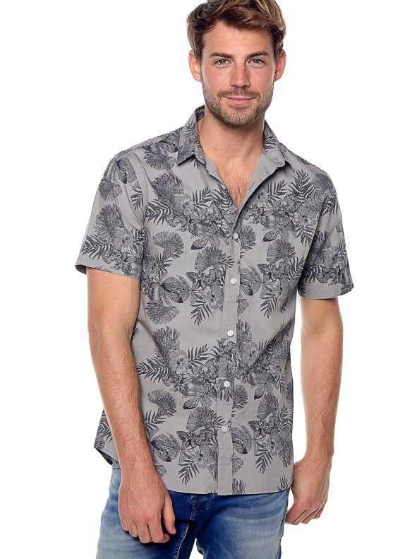 Camisa hombre manga corta hibiscus slim ONLY & SONS