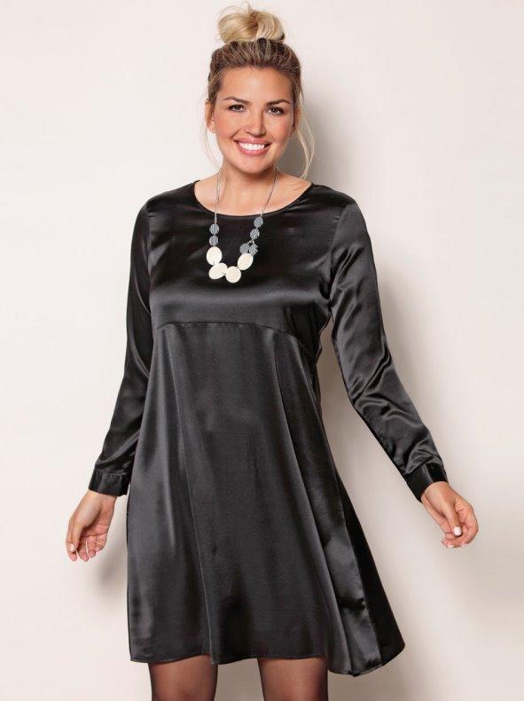 Women's plus size plain satin evasé dress cut under the breast BELLÍSIMA