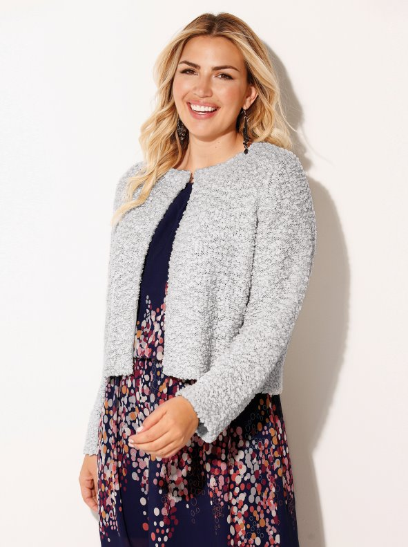 Women's plus size party jacket with silver metallic threads BELLÍSIMA