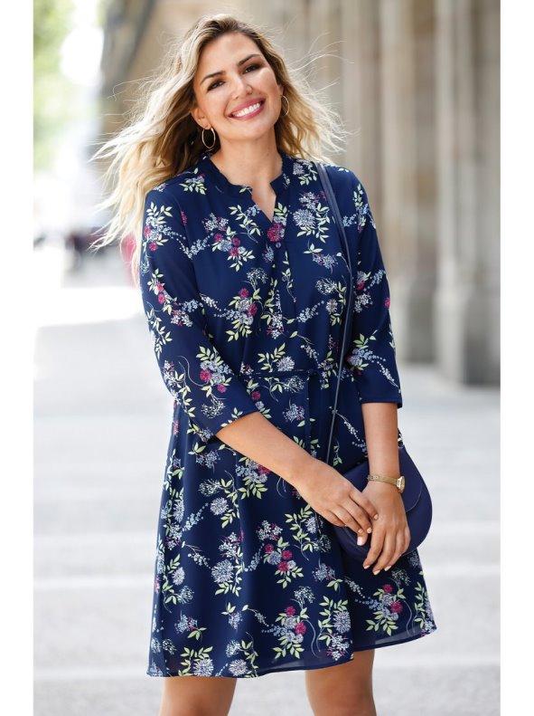 Vestido Estampado Floral Tallas Grandes Bellisima By Venca Venca 018757