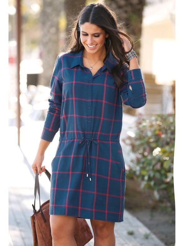 Women's plus size plaid flannel dress with shirt collar BELLÍSIMA