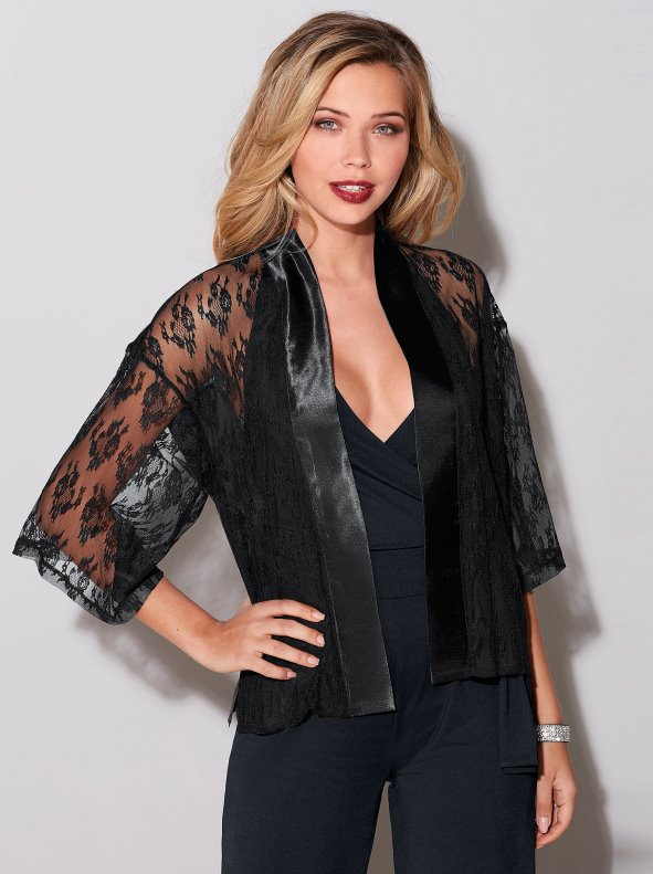 Women's satin party jacket with semi-transparent lace sleeves VENCA