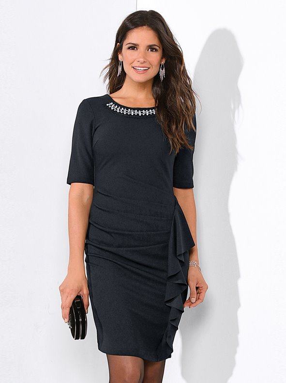 Women's party dress with beaded details and front flounce VENCA