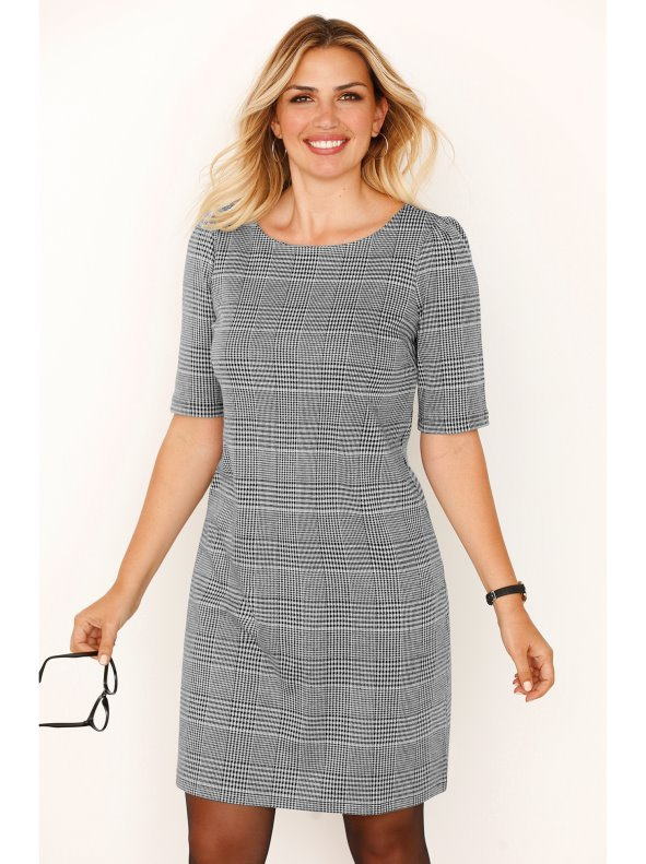 Women's Milano knit dress with Welsh chequered pattern, Plus sizes BELLÍSIMA