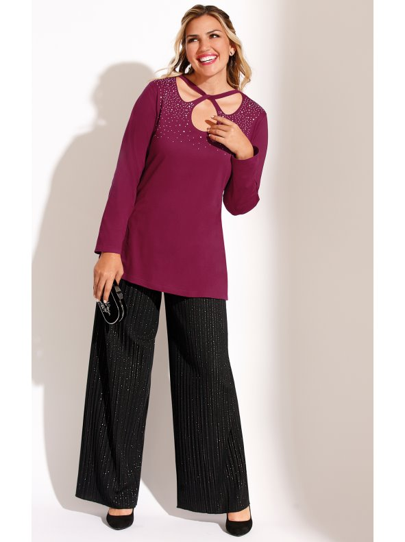 Women's party long trousers, pleated fabric and metallic threads, Plus sizes