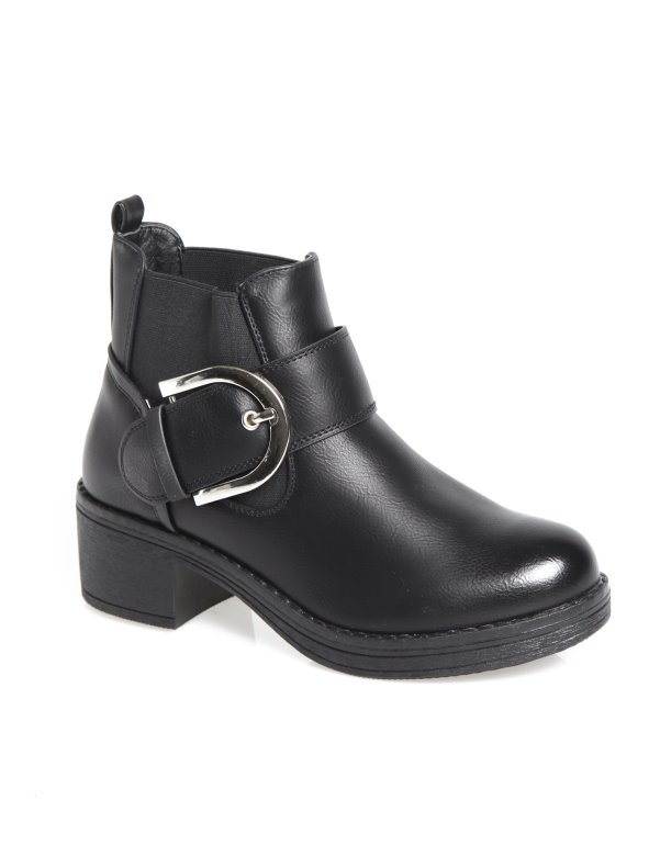 Women's high heel boots with platform and faux leather side elastics