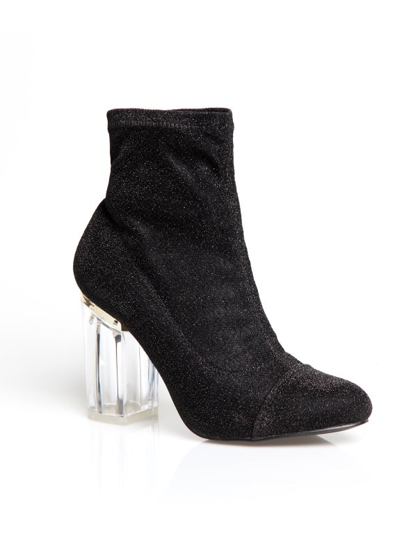 Women's party ankle boots with transparent heels and metallic threads