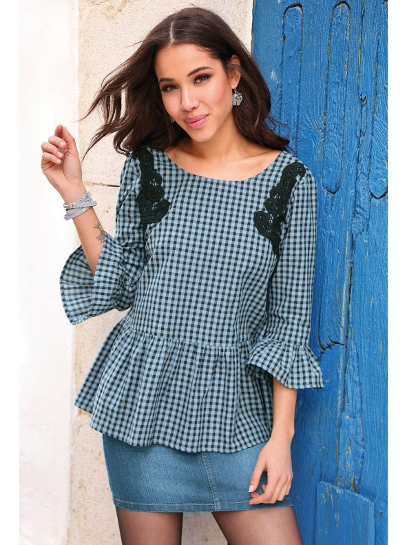 Women's Vichy checked blouse with guipure details VENCA