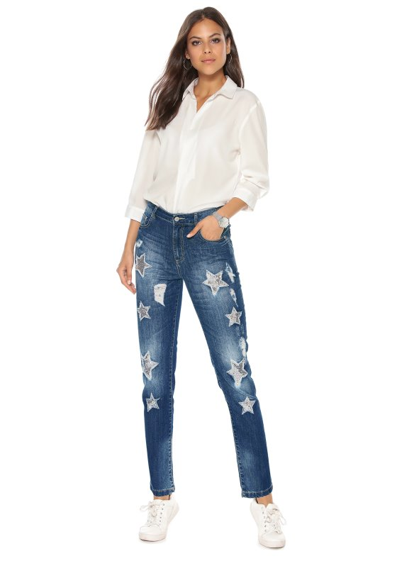 Women's medium waist torn jeans with stars and sequins