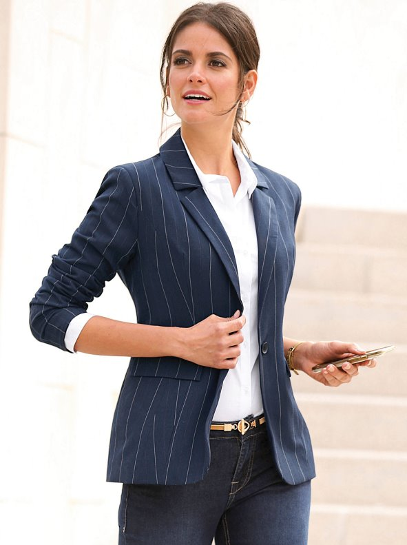 Women's elastic blazer diplomatic stripe with button closure flaps